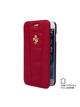 ETUI FOLIO FERRARI CUIR VERITABLE ROUGE