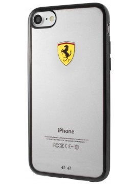 COQUE FERRARI RACING SHIELD TPU TRANSPARENT BUMPER NOIR IPHONE 7