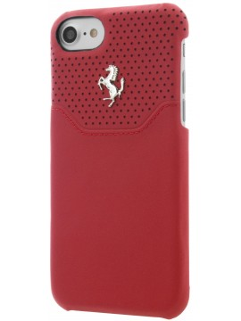 COQUE RIGIDE FERRARI LUSSO CUIR ROUGE MICRO PERFORÉ - IPHONE 7
