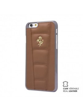 COQUE RIGIDE FERRARI CUIR VERITABLE CAMEL