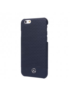 COQUE RIGIDE BLEUE MERCEDES EN CUIR VERITABLE PERFOREE